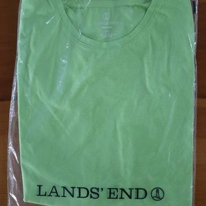 Lands' End Relaxed Supima SS Green Crew size Small